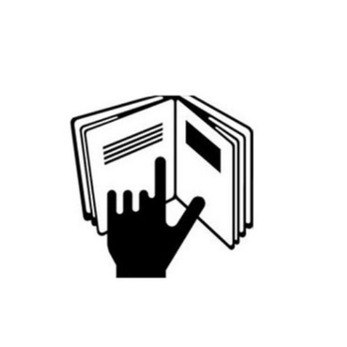 Mano señalando texto en un libro