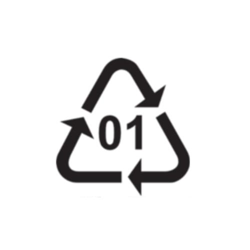 Flechas en forma de triángulo con un número envases cosméticos