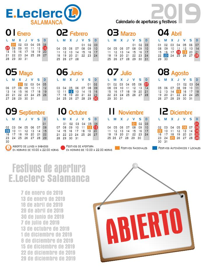 Calendario de aperturas