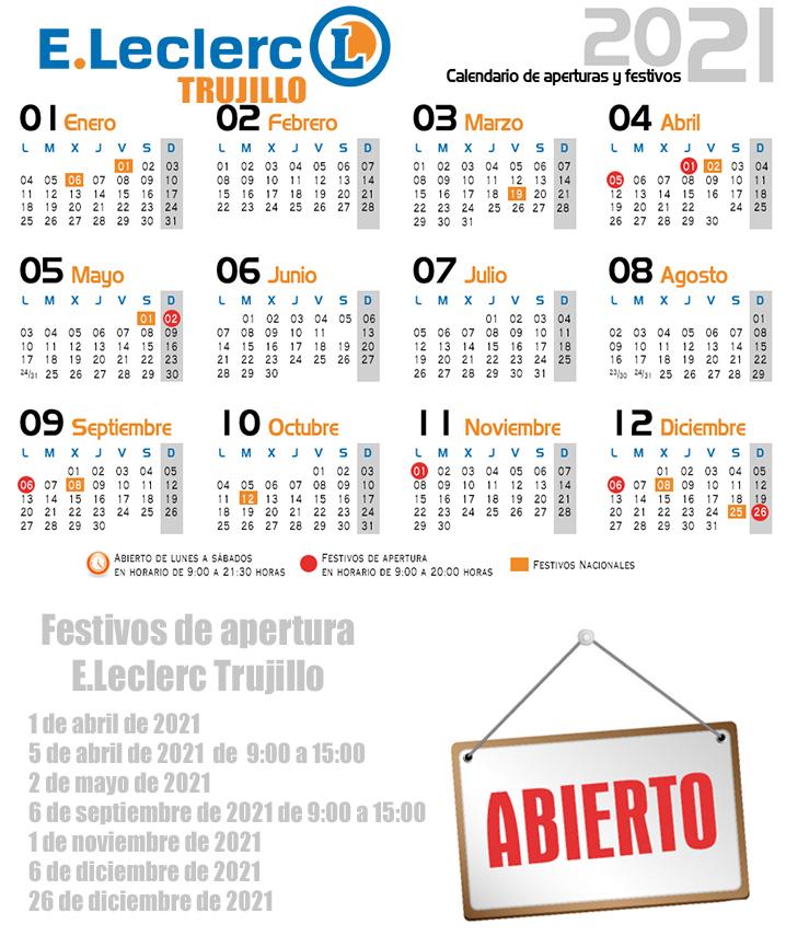 Calendario aperturas Trujillo 2021