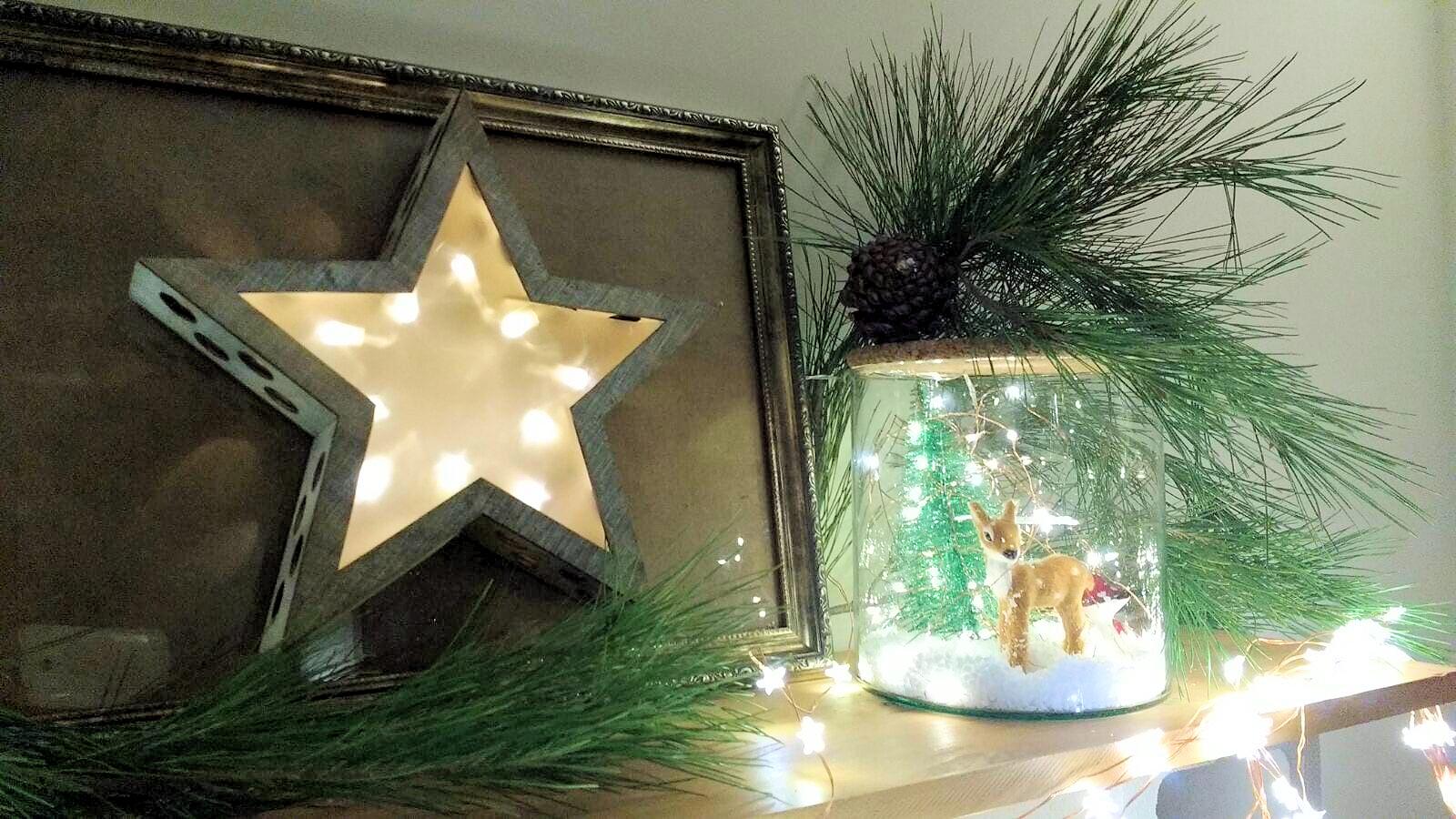 Estrella de navidad en marco DIY