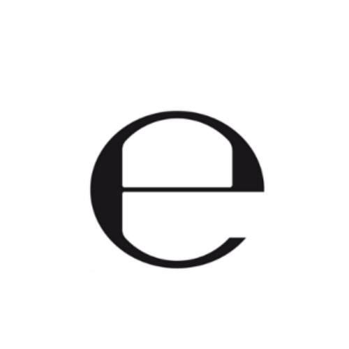 símbolo en forma de 'e' minúscula envases cosméticos