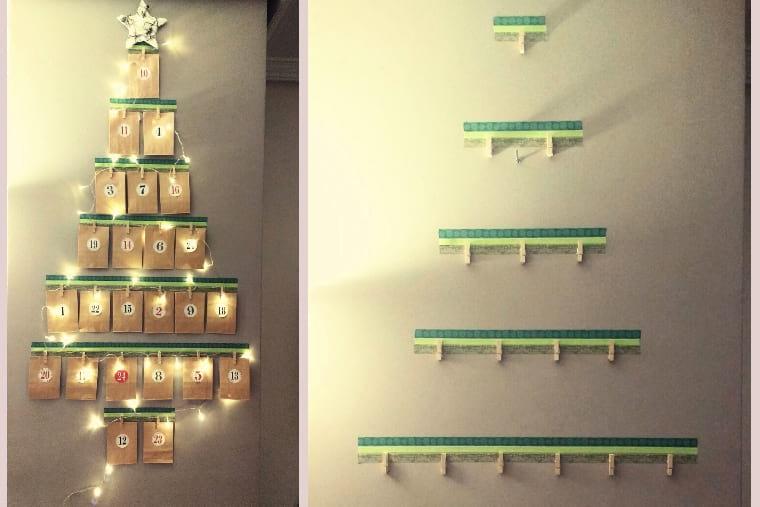 Árbol de navidad calendario de adviento DIY