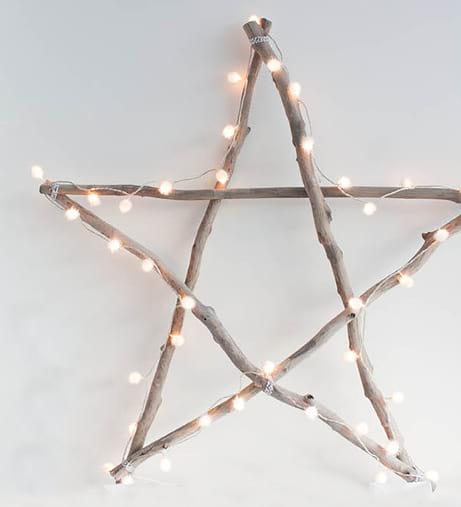 trucos DIY estrella con ramas y luces