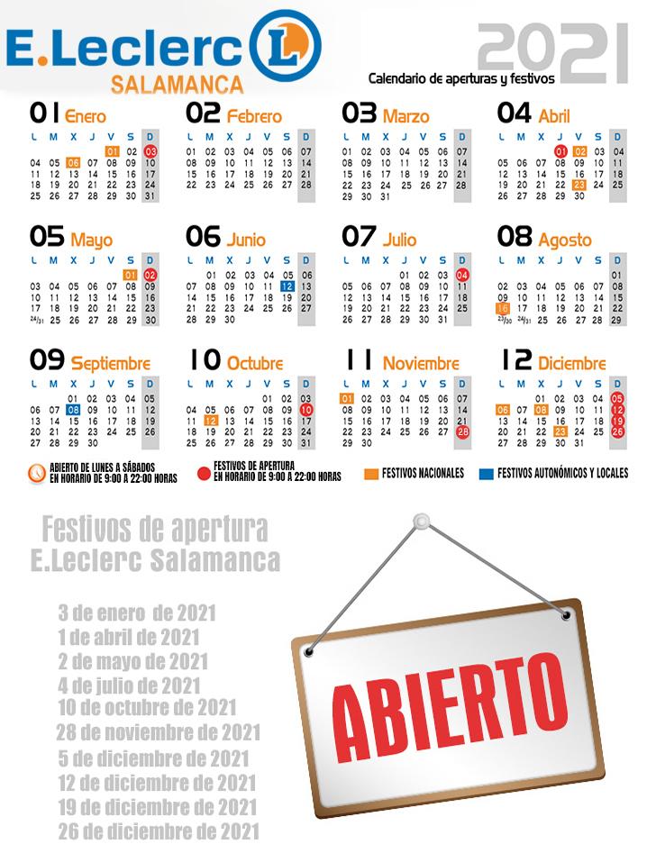 Calendario aperturas