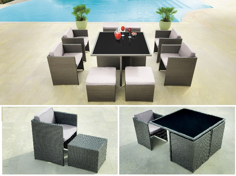 8 muebles de tendencia para jardin terraza o exterior for Mesa y sillas para balcon